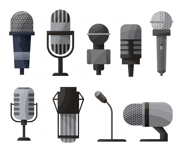 Microphone set in cartoon style