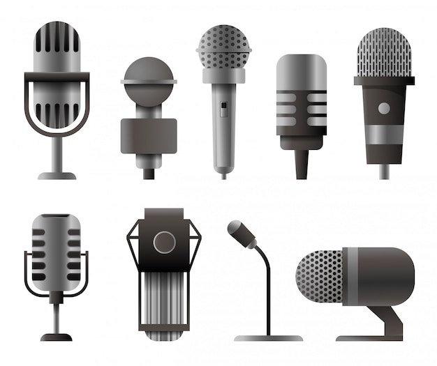Microphone set in realistic style. microphones for audio podcast.