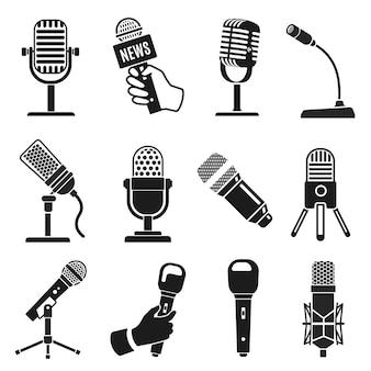 マイクのシルエット。現代と古いビンテージマイクアイコン。音楽またはポッドキャストの録音。カラオケとラジオ放送のベクトルセットのロゴ要素。カラオケやラジオのイラストマイク