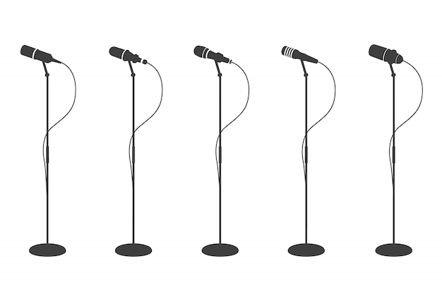 Microphone silhouettes. standing microphones audio equipment.  and karaoke music mics   collection