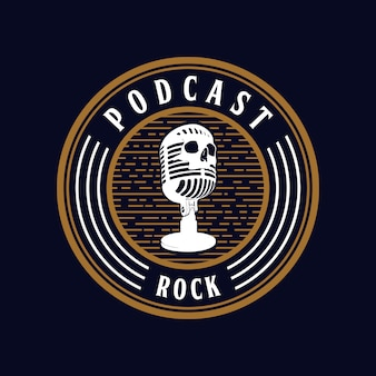 Microphone skull podcast rock