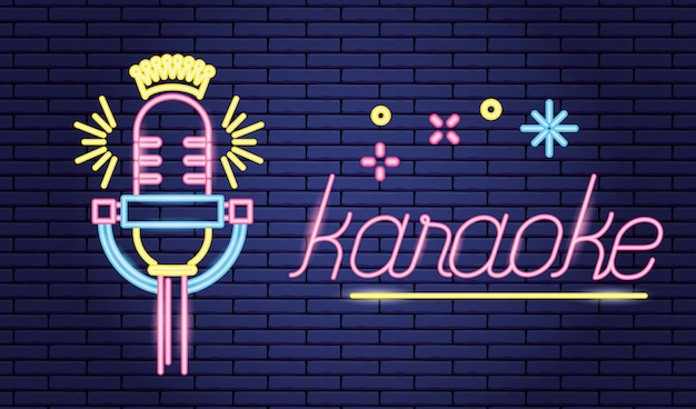 Microphone sound icon, neon style over purple