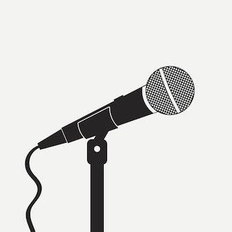 Microphone on the stand. sound recording equipment. for karaoke, interview, singing. vector illustration.