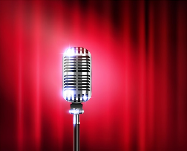 Microphone stand up show realistic illustration