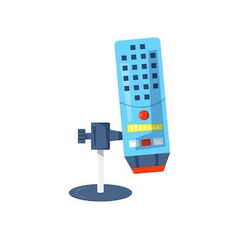 メディアポッドキャスト、メディアホスティング用のマイクベクトルアイコン。スタジオのシンボル、ロゴ、エンブレム、ラベルを記録するためのデザインテンプレートセット。ボイスサイン、カラートレンディなイラスト