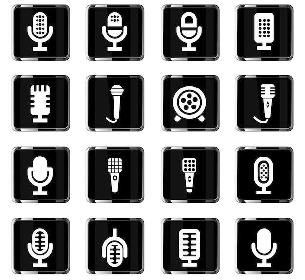 Microphone vector icons for user interface design