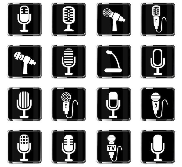 Microphone web icons for user interface design