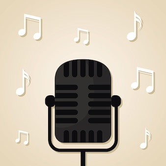 Microphone with a black color and music notes