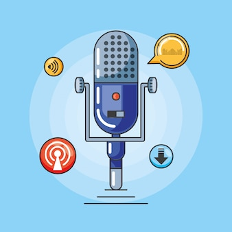 Microphone with gadgets of digital audio studio
