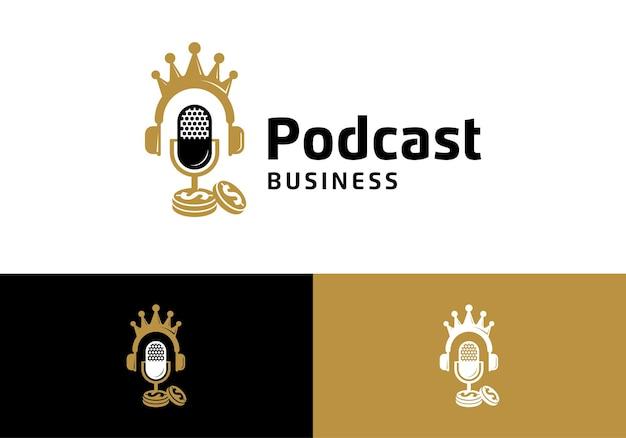 お金のコイン、ビジネスポッドキャストロゴイラストデザインテンプレートとマイク