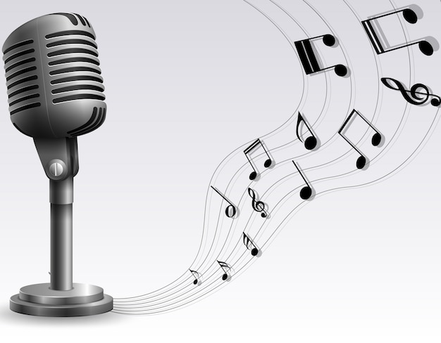 Microphone with note music illustration