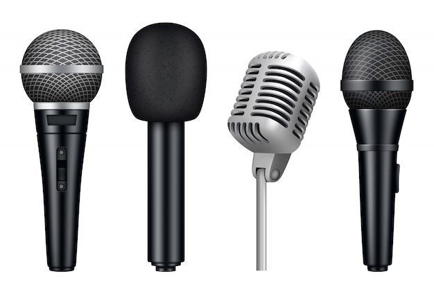 Microphones 3d, music studio misc mic equipment realistic  of vintage style microphones isolated