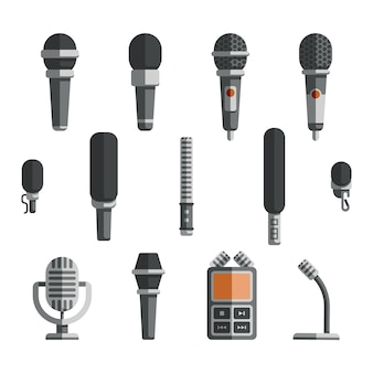 Microphones and dictaphone vector flat icons