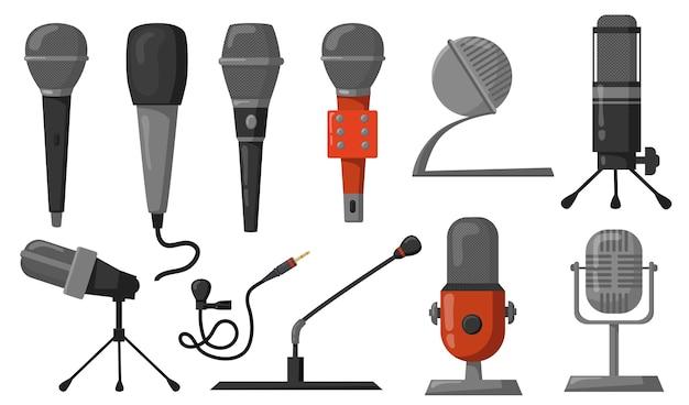 마이크 평면 그림을 설정합니다. 팟 캐스트 또는 음악 녹음 또는 방송을위한 스튜디오 장비. 오디오 기술, 통신, 성능 개념에 대한 벡터 일러스트 레이 션