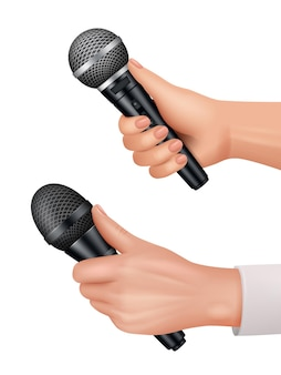 Microphones in hands. interviewer equipment news audience dialog vector proffesional items realistic. microphone interview equipment for speech broadcasting illustration