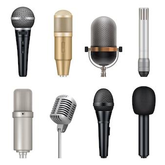마이크는 현실적입니다. 노래하고 말하는 벡터 템플릿 세트를 위한 오디오 스튜디오 장비. 스튜디오 노래방 도구, 녹음 일러스트레이션을 위한 음성 엔터테인먼트 보컬 마이크