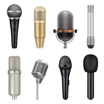 Microphones realistic. audio studio equipment for singing and talking vector templates set. studio karaoke tools, speech entertainment vocal mic for record illustration