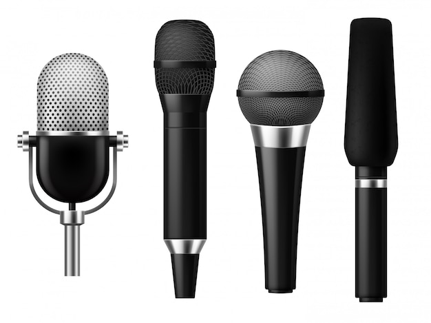 Microphones realistic. mic conference news media voice concert microphone meeting interview journalist studio show set