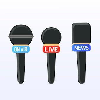 Microphones set journalists reporters take interviews give interviews urgent news true