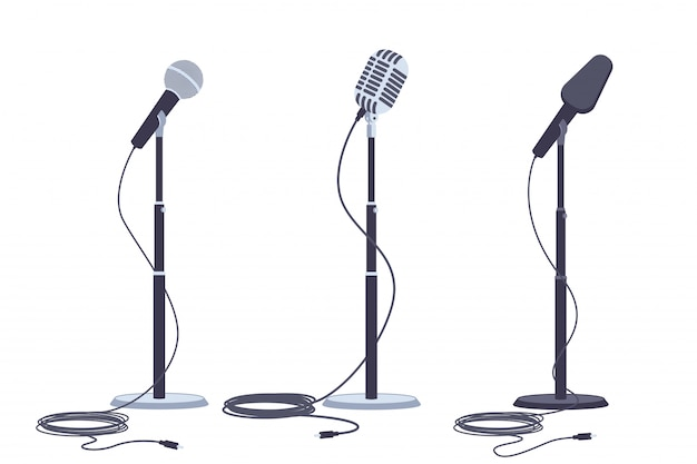 Microphones on stand vector flat set of modern and retro music audio equipment.