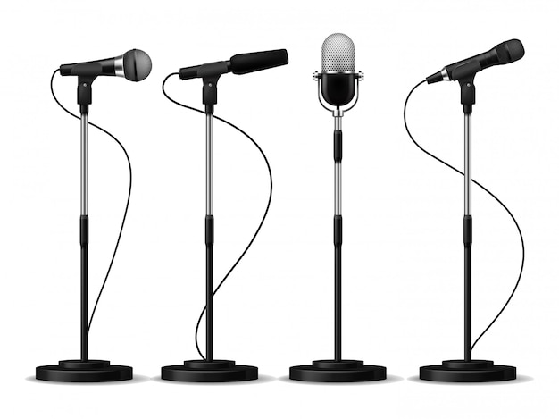 Microphones on stands. stage standing microphones, studio mic for singing with counters. concert audio equipment set