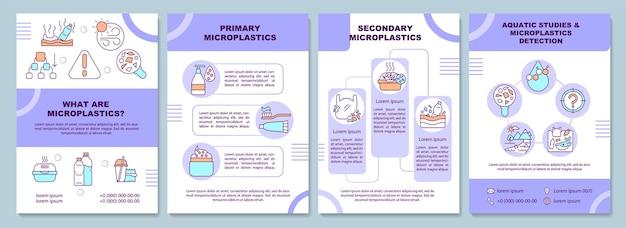 Microplastics 전단지 템플릿입니다. 전단지, 소책자, 전단지 인쇄, 선형 아이콘이있는 표지 디자인. 지구 온난화. 기후 변화. 프리젠 테이션 레이아웃, 연례 보고서, 광고 페이지