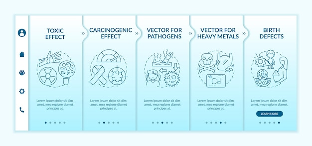 Microplastics health effects onboarding template. responsive mobile website with icons