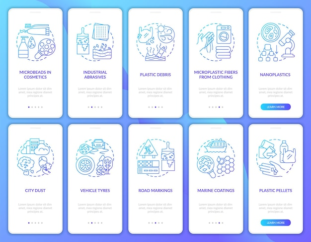 Microplastics sources onboarding mobile app page screen with concepts