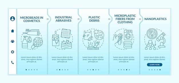 Microplastics 유형 온 보딩 템플릿. 아이콘이있는 반응 형 모바일 웹 사이트