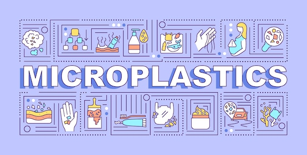 Microplastics word concepts banner. global warming problem. evironmental responsibility. infographics with linear icons on purple background. isolated typography.  outline rgb color illustration