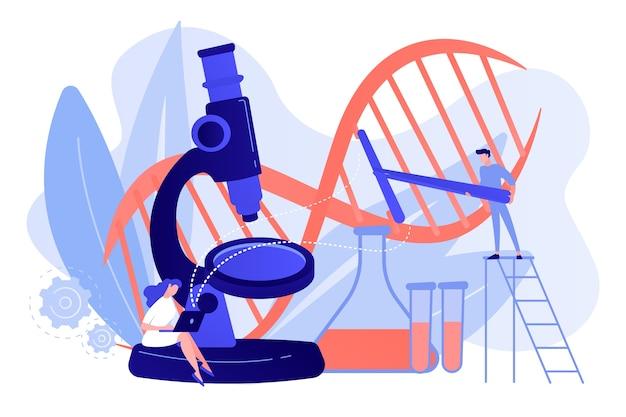 Микроскоп и ученые меняют структуру днк. генная инженерия, генетическая модификация и концепция генетических манипуляций на белом фоне. розовый коралловый синий вектор изолированных иллюстрация