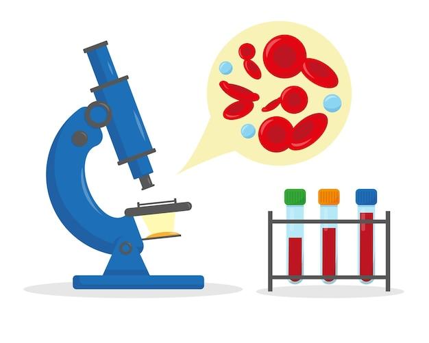 혈액 분석 및 검사를위한 현미경 및 튜브