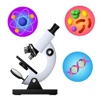 Microscope, dna, bacterium and atom vector