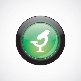 顕微鏡ガラスサインアイコン緑色の光沢のあるボタン。 uiウェブサイトボタン
