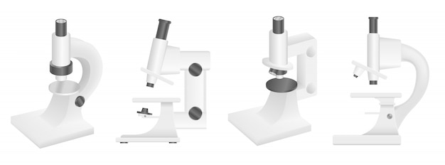 Microscope icons set, realistic style