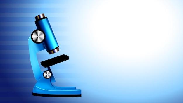 현미경 실험실 장비 복사 공간 벡터입니다. 현미경 제약 기기, 과학, 화학 및 탐사 템플릿을 위한 미생물학 돋보기 도구 현실적인 3d 일러스트