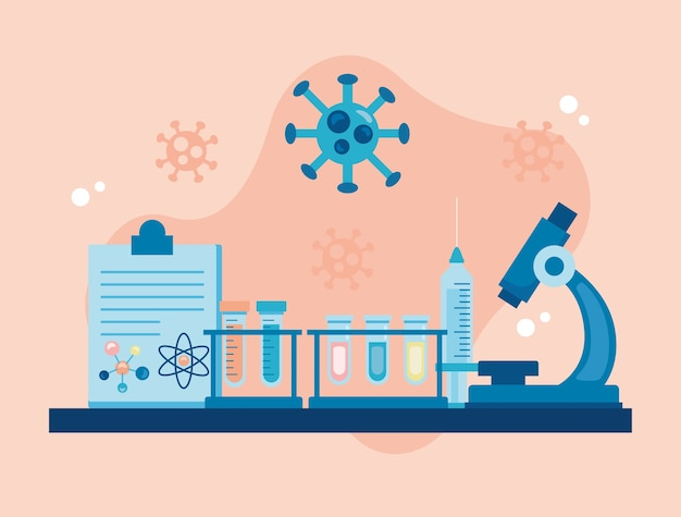 チェックリストとcovid19粒子ワクチン研究を備えた顕微鏡実験ツール