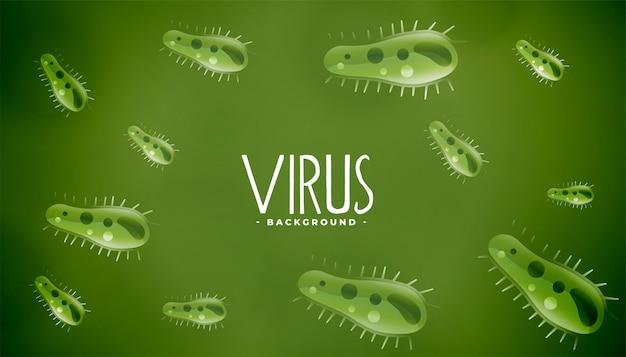 Микроскопические микробы или вирус зеленого фона