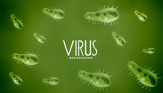 Microscopic germs or virus green background