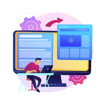 マイクロサイト開発の抽象的な概念図。マイクロサイトのウェブ開発、小さなインターネットサイト、グラフィックデザインサービス、ランディングページ、ソフトウェアプログラミングチーム。