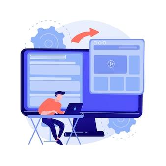 마이크로 사이트 개발 추상적 인 개념 벡터 일러스트입니다. 마이크로 사이트 웹 개발, 소규모 인터넷 사이트, 그래픽 디자인 서비스, 랜딩 페이지, 소프트웨어 프로그래밍 팀 추상 은유.