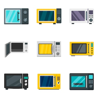 Microwave icon set