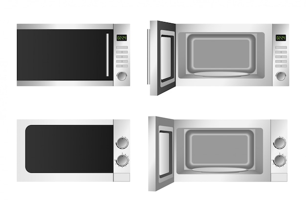 Microwave icons set, realistic style