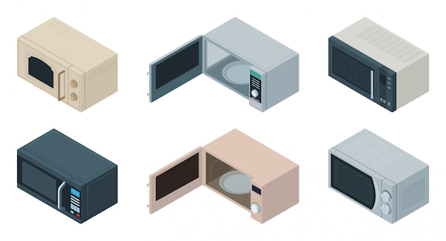 Microwave isometric set icon. illustration kitchen oven on white background . isolated isometric set icon microwave.