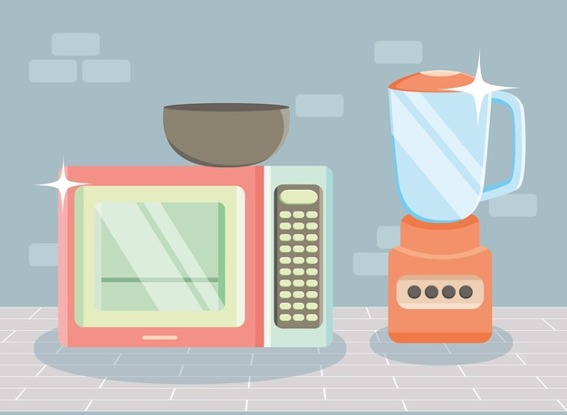 Microwave oven and blender kitchen appliances