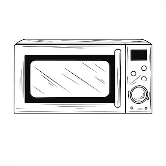 Microwave oven isolated illustration