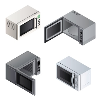 Microwave set. isometric set of microwave