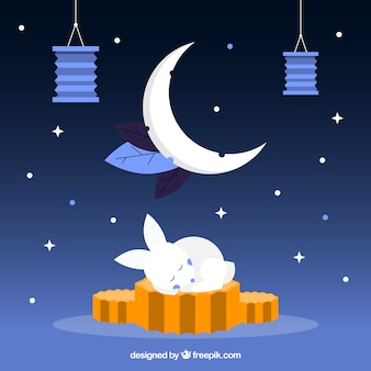 Mid autumn background with moon cake