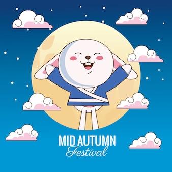 Празднование середины осени с маленьким кроликом и луной в облаках