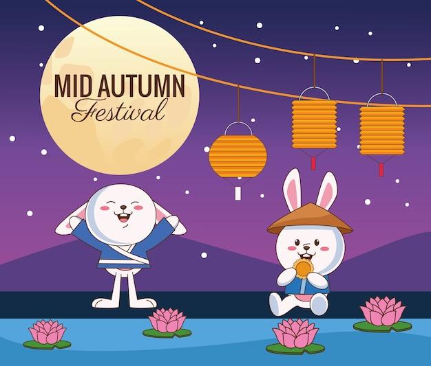 Празднование середины осени карта с маленькой парой кроликов ночью дизайн векторной иллюстрации